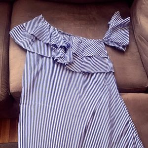 Blue and White Striped Ruffled Summer Dress